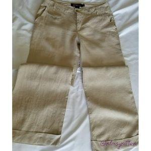 Pants - Low Rise Wide Leg Linen Pants